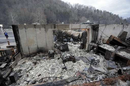 Some walls of a burned-out business remain Wednesday, Nov. 30, 2016, in Gatlinburg, Tenn., after a wildfire swept through the area Monday. Three more bodies were found in the ruins of wildfires that torched hundreds of homes and businesses in the Great Smoky Mountains area, officials said Wednesday. (AP Photo/Mark Humphrey)