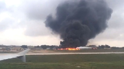 A plane which crashed on take-off from Malta International Airport (Ed De Gaetano/Twitter/PA)