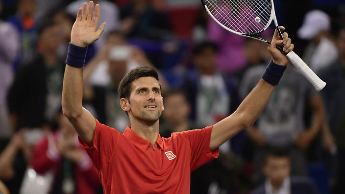 Novak Djokovic of Serbia reacts after defeating Mischa Zverev of Germany in their men's singles quarterfinal round match during the 2016 Shanghai Rolex Masters tennis tournament in Shanghai, China, 14 October 2016. Novak Djokovic defeated Mischa Zverev 2-1 (3-6, 7-6, 6-3).