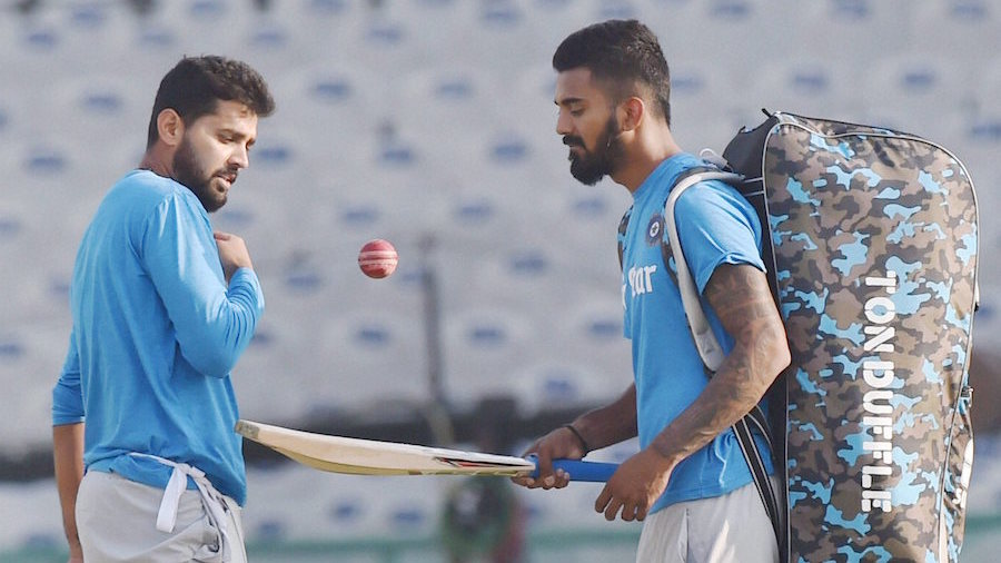 Mohali: Indian cricket team players Murli Vijay and KL Rahul during a practice session ahead of the 3rd test match against England, in Mohali on Thursday. PTI Photo by Vijay Verma (PTI11_24_2016_000137B)